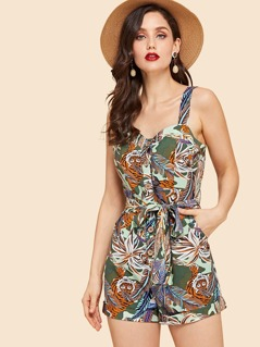 Tropical Print Button Front Belted Romper