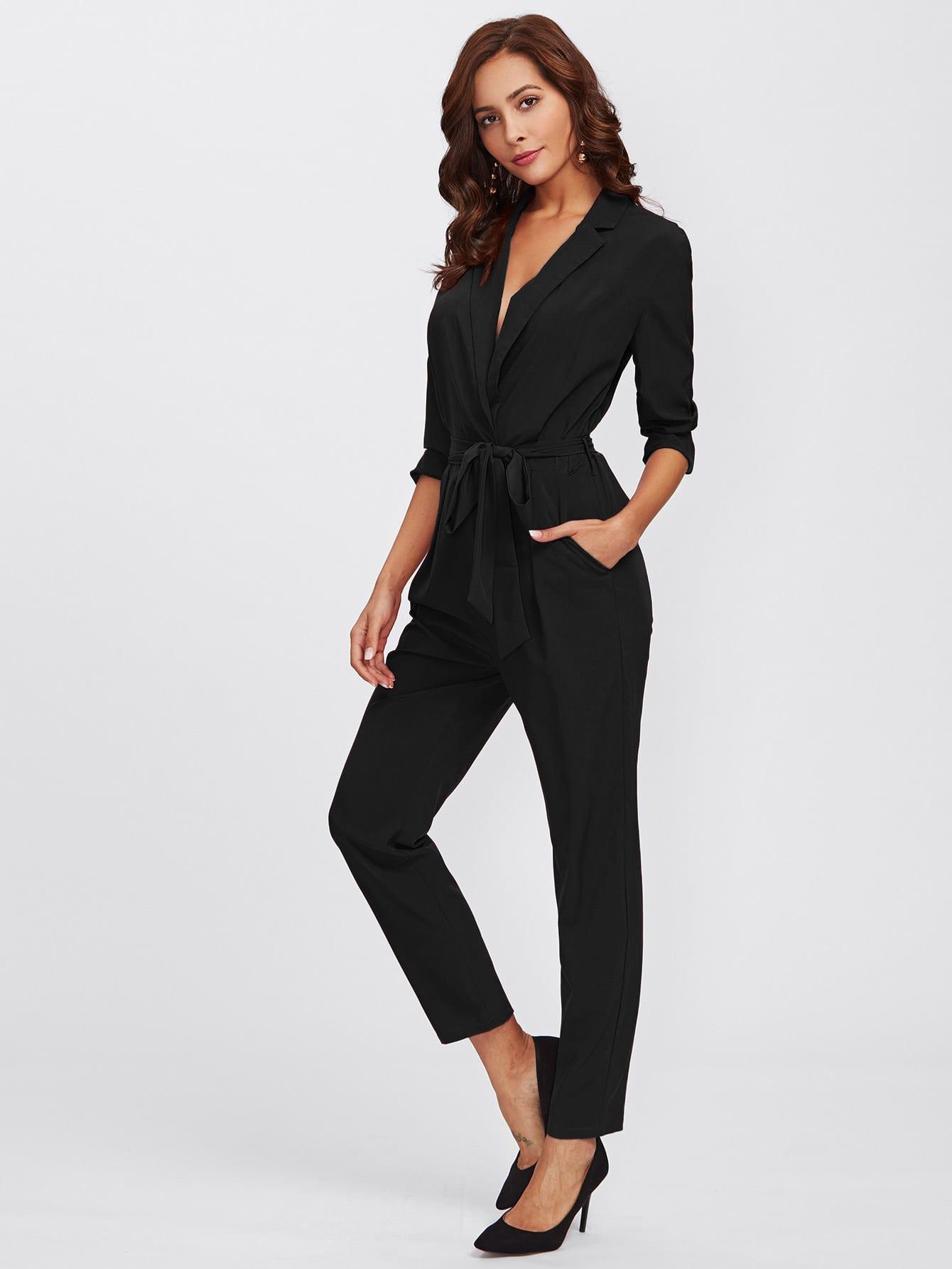 Wrap And Tie Detail Tailored Jumpsuit plaid tailored jumpsuit