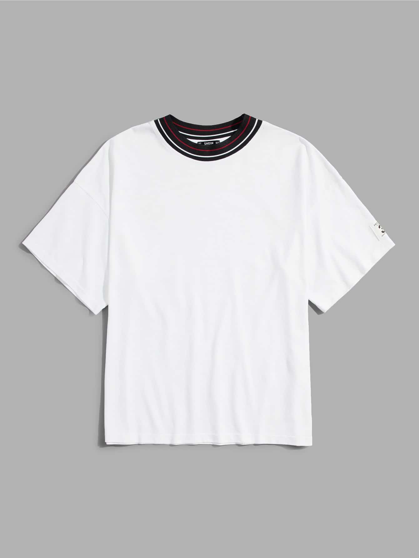 Men Striped Neck T-shirt цена