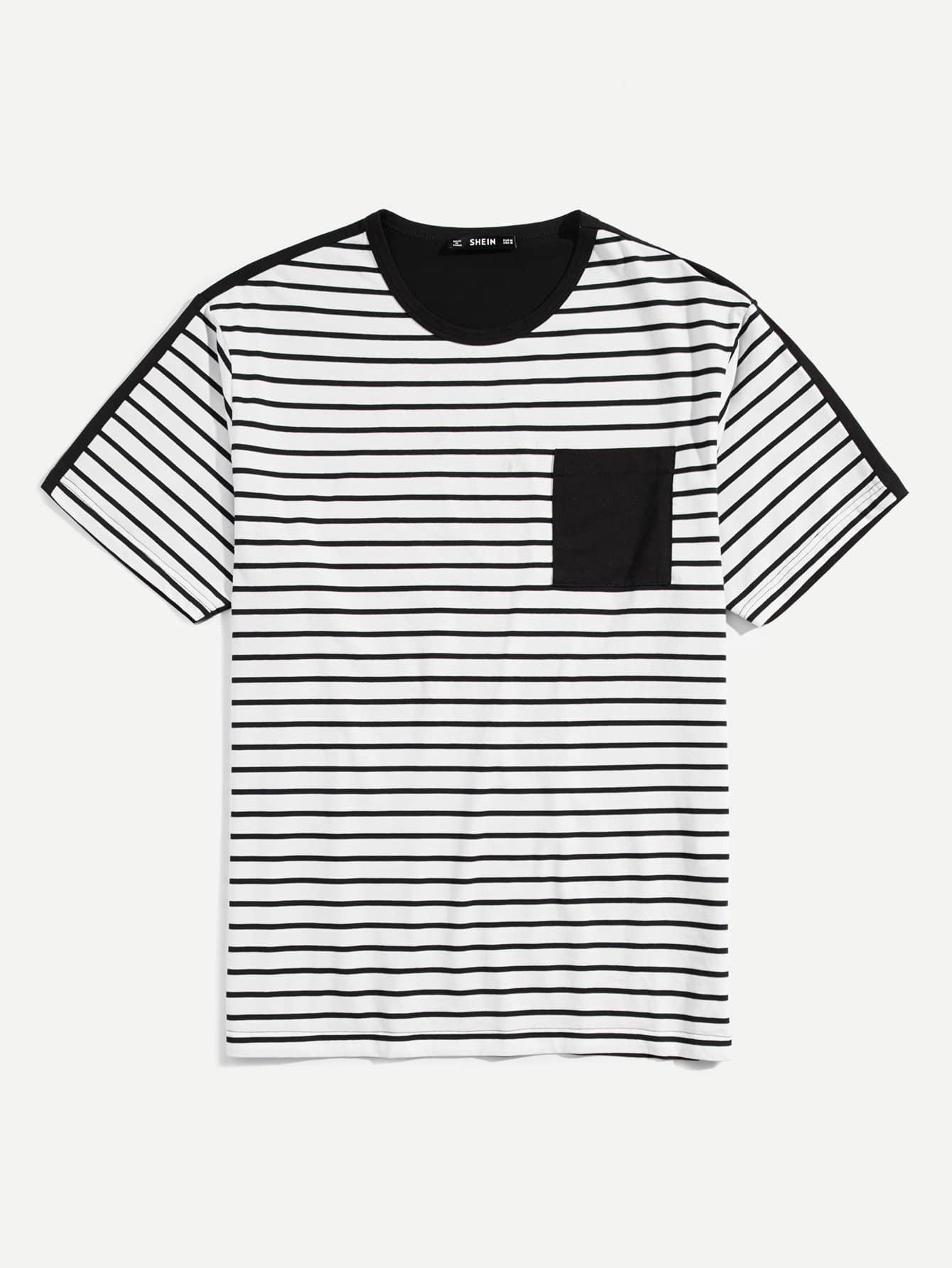 Купить Мужская футболка с двумя полосками, null, SheIn