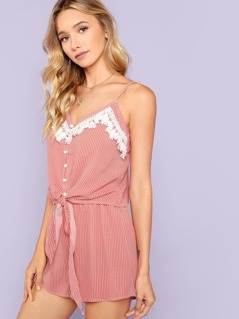Tassel Trim Button Up Cami Top & Shorts Co-Ord