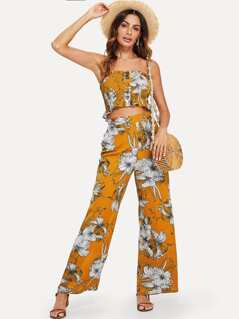 Button Front Shirred Bandeau Top and Wide Leg Pants Set