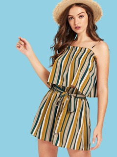 Striped Crop Cami Top & Belted Shorts Co-Ord