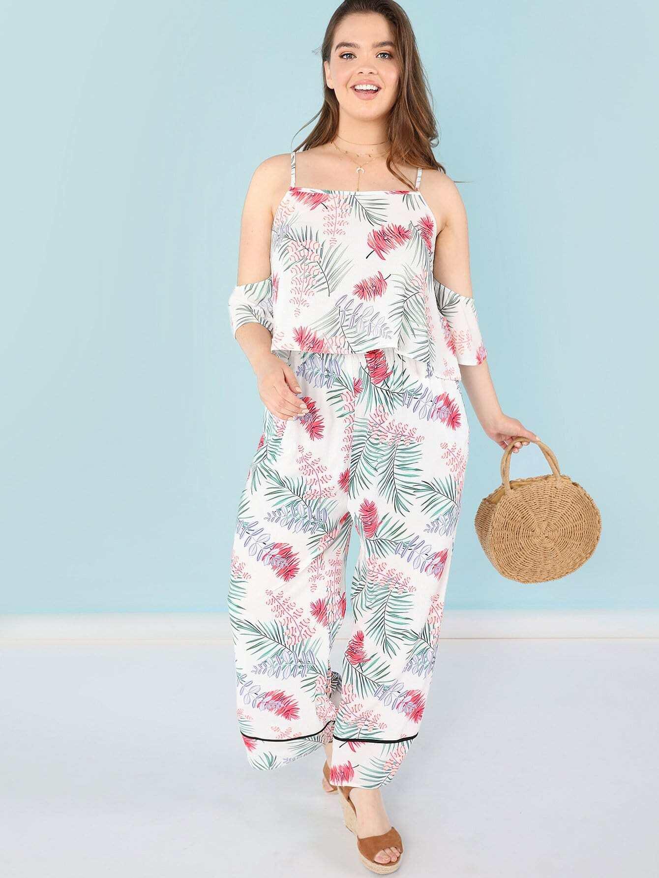Купить Открытое плечо Tropical Print Top & Pants Set, Faith Bowman, SheIn