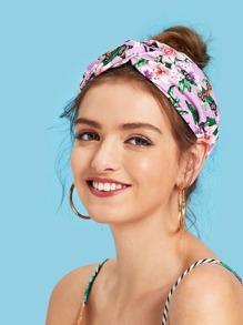 Flower Print Twist Headwrap