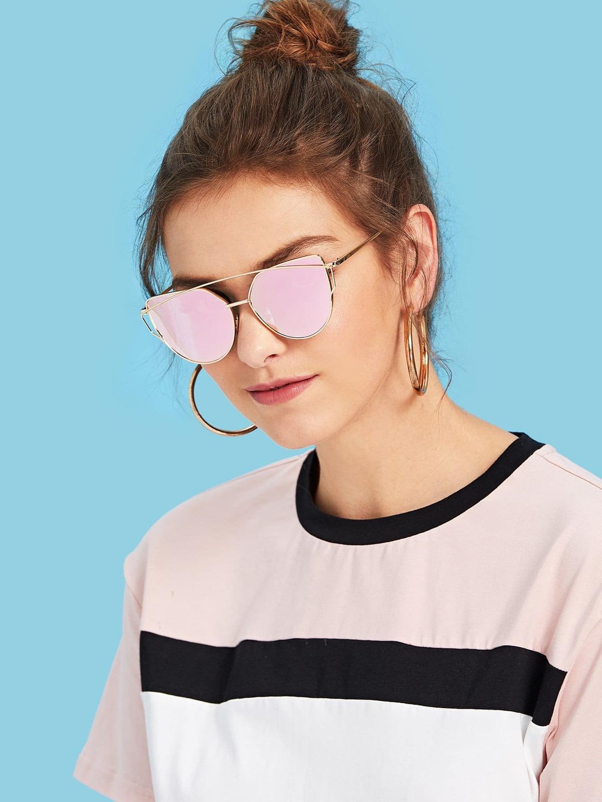金色 金屬 框 雙鼻樑 粉紅色 鏡片 太陽眼鏡