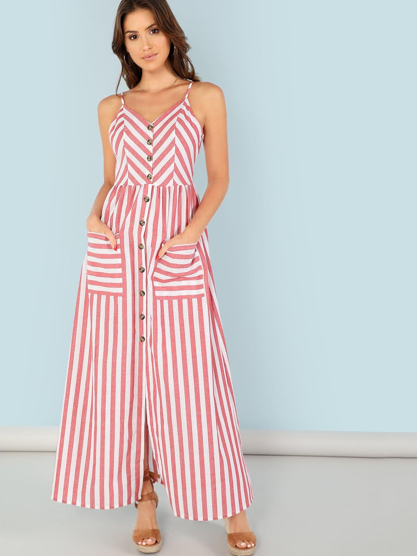 Купить Пуговица вверх Карманный фронт полосатый ками платье, Gigi Paris, SheIn