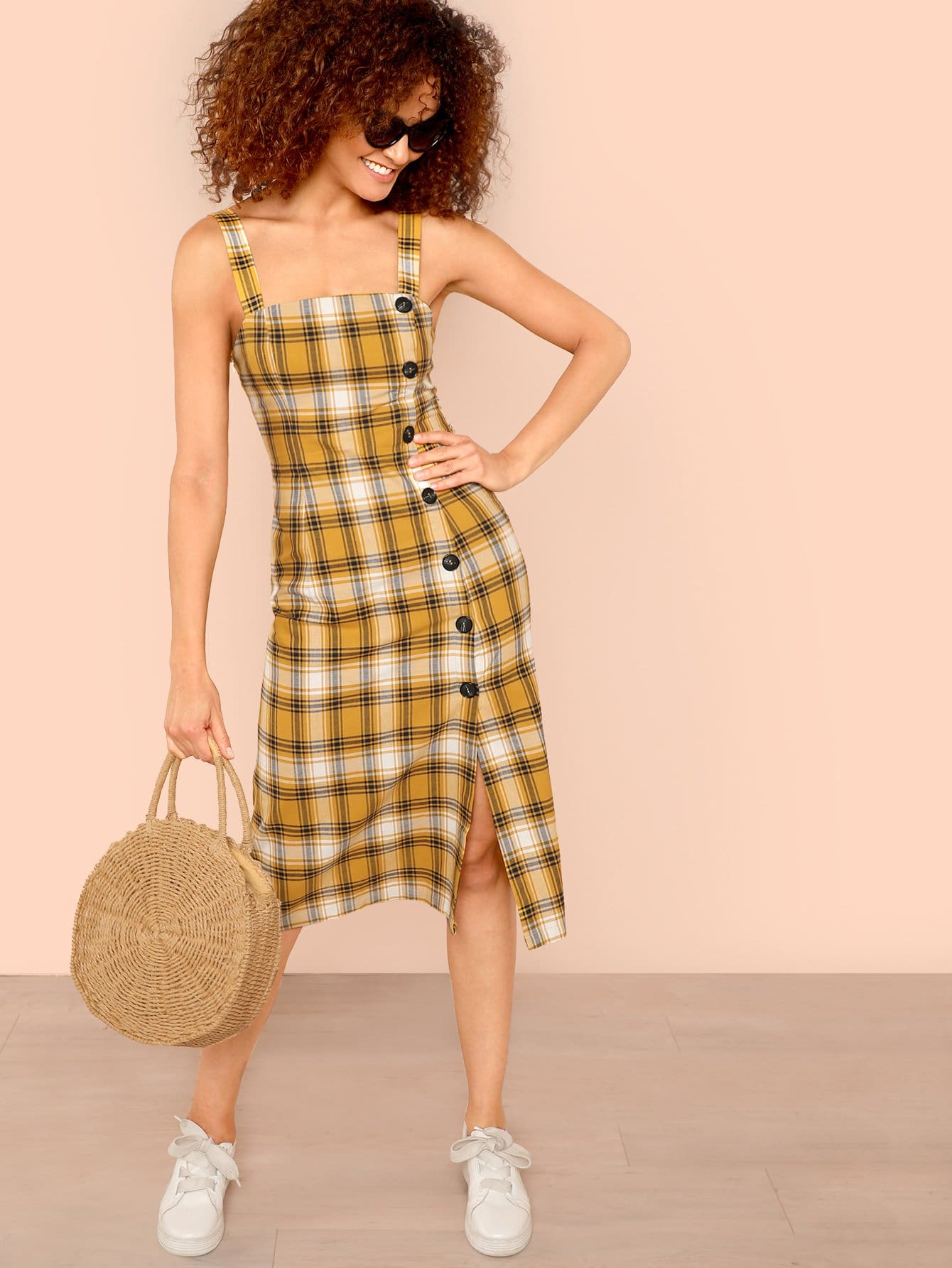 Button Side Slit Hem Plaid Dress fold over button front slit hem strap dress