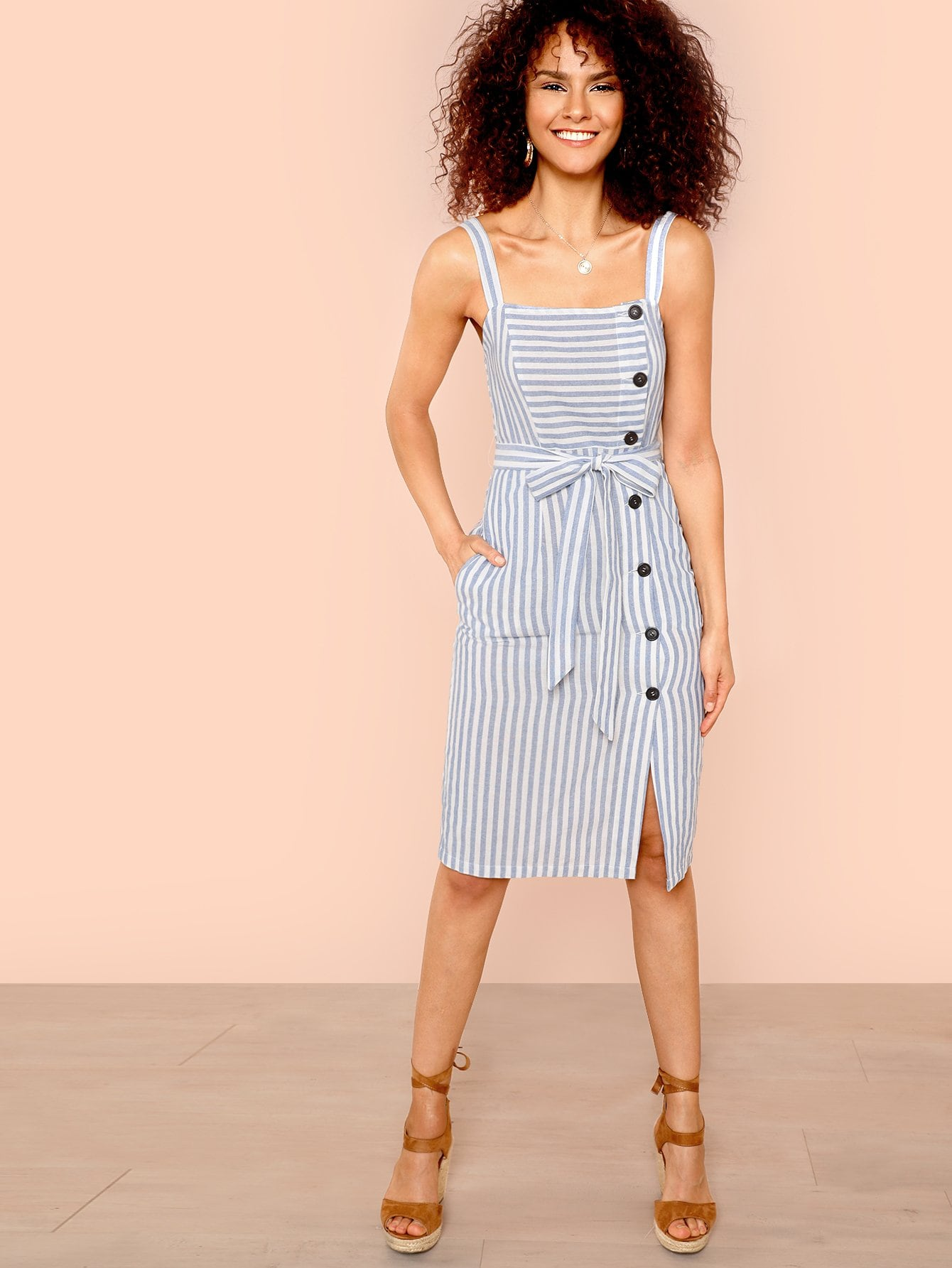 Button Up Self Belted Striped Dress with Strap striped pockets belted pencil dress