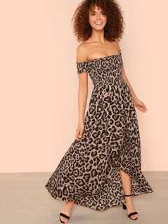 Off Shoulder Shirred Leopard Dress
