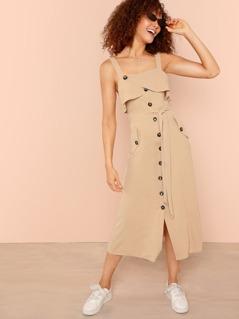 Foldover Front Self Belted Slit Hem Dress