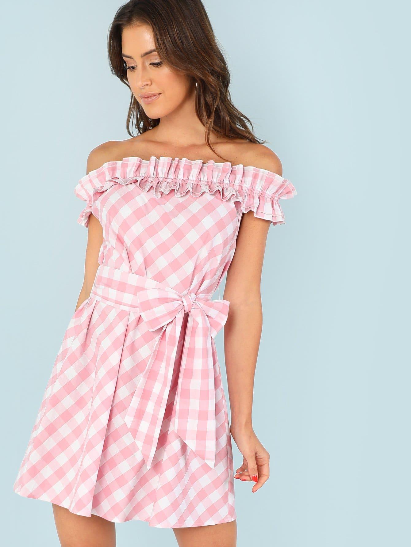 Layered Ruffle Trim Self Belted Plaid Dress self belted solid ruffle trim dress