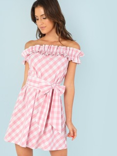 Layered Ruffle Trim Self Belted Plaid Dress