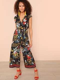 Tropical Print Stripe Tape Hem Straight Leg Jumpsuit