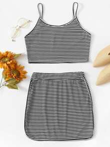 Striped Spaghetti Strap Two-piece Outfit