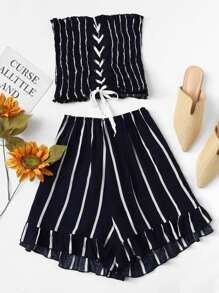 Striped Frill Lace Up Ruffle Hem Two-piece Outfit