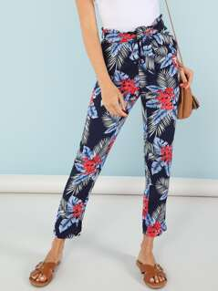Belted Tropical Print Pants