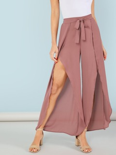 Tie Waist Split Wide Leg Pants