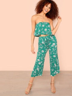 Calico Print Crop Bardot Top & Pants Set