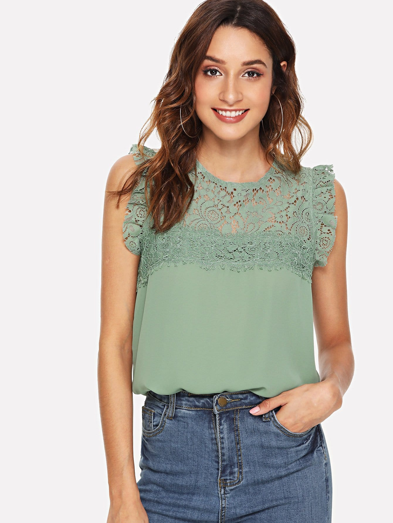 Floral Lace Yoke Frilled Top frilled collar lace yoke sleeveless top