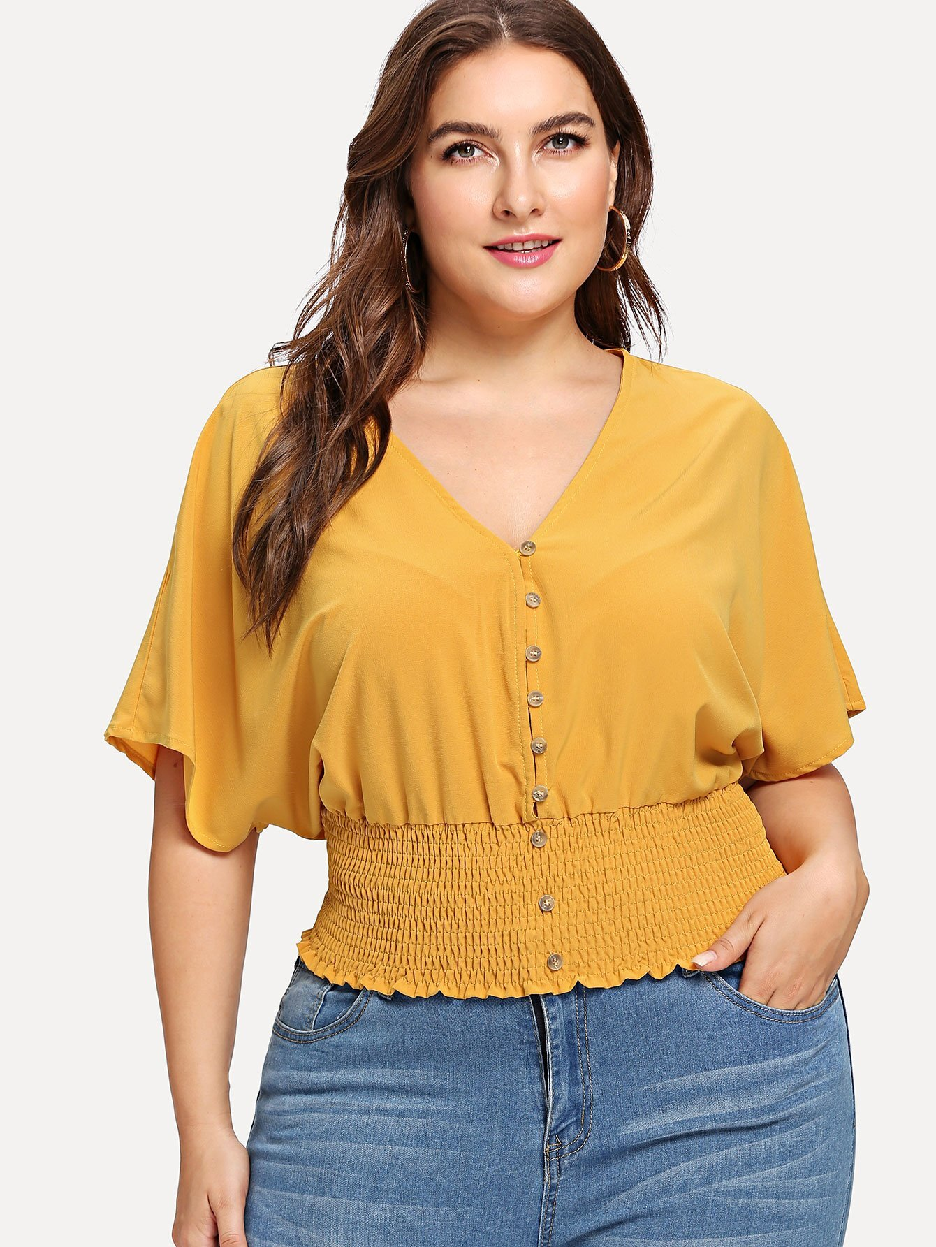 Batwing Sleeve Shirred Hem Button Up Blouse
