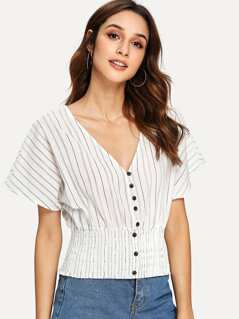 Batwing Sleeve Shirred Hem Button Up Striped Blouse
