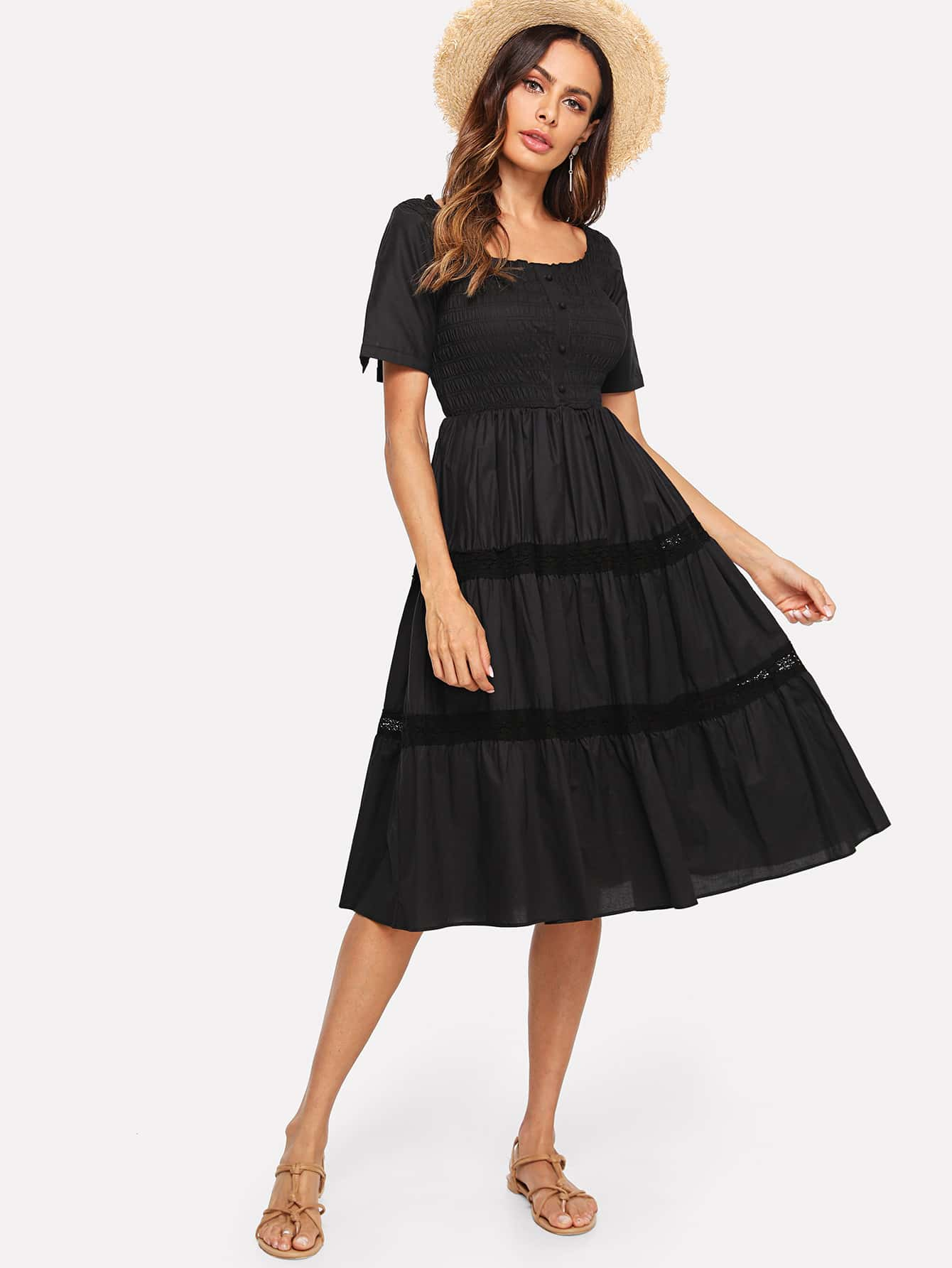 Button Up Front Tiered Ruffle Hem Dress surplice neck ruffle embellished button up dress