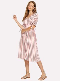 Knot Cuff Button Through Striped Dress