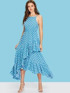 Polka Dot Print Asymmetrical Flounce Hem Cami Dress
