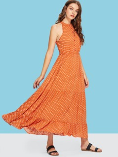 Tiered Ruffle Hem Dot Halter Dress