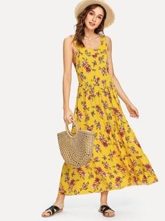 Ruffle Neck Floral Sleeveless Dress