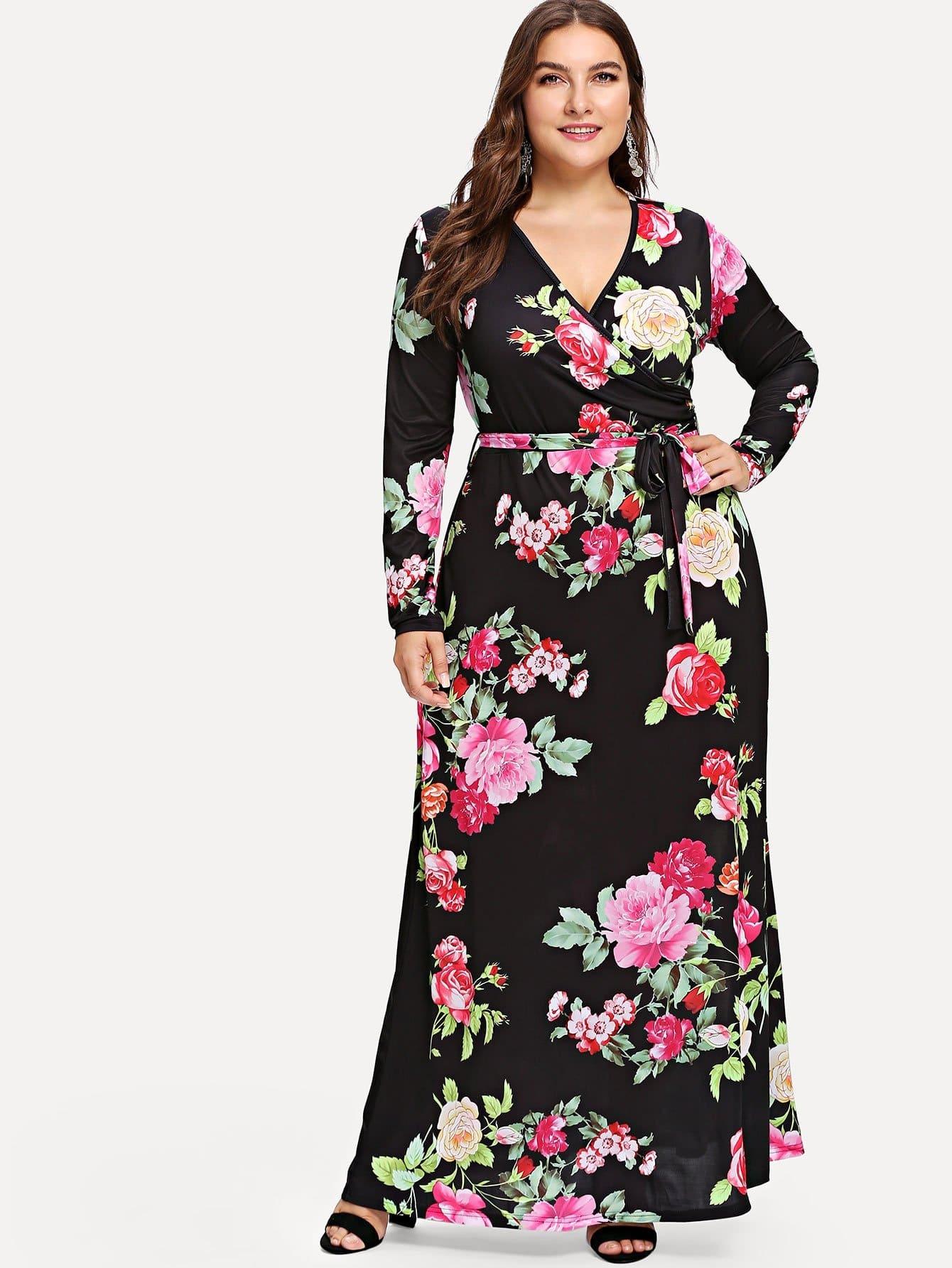 Купить Платье с запахом в цветочек с длинными рукавами, Franziska, SheIn