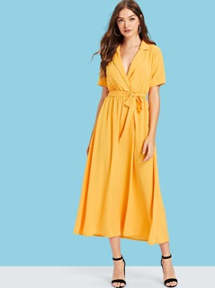 Notch Collar Belted Wrap Dress