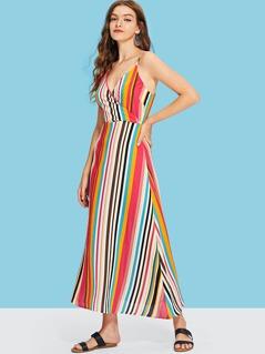 Surplice Neck Striped Slip Dress