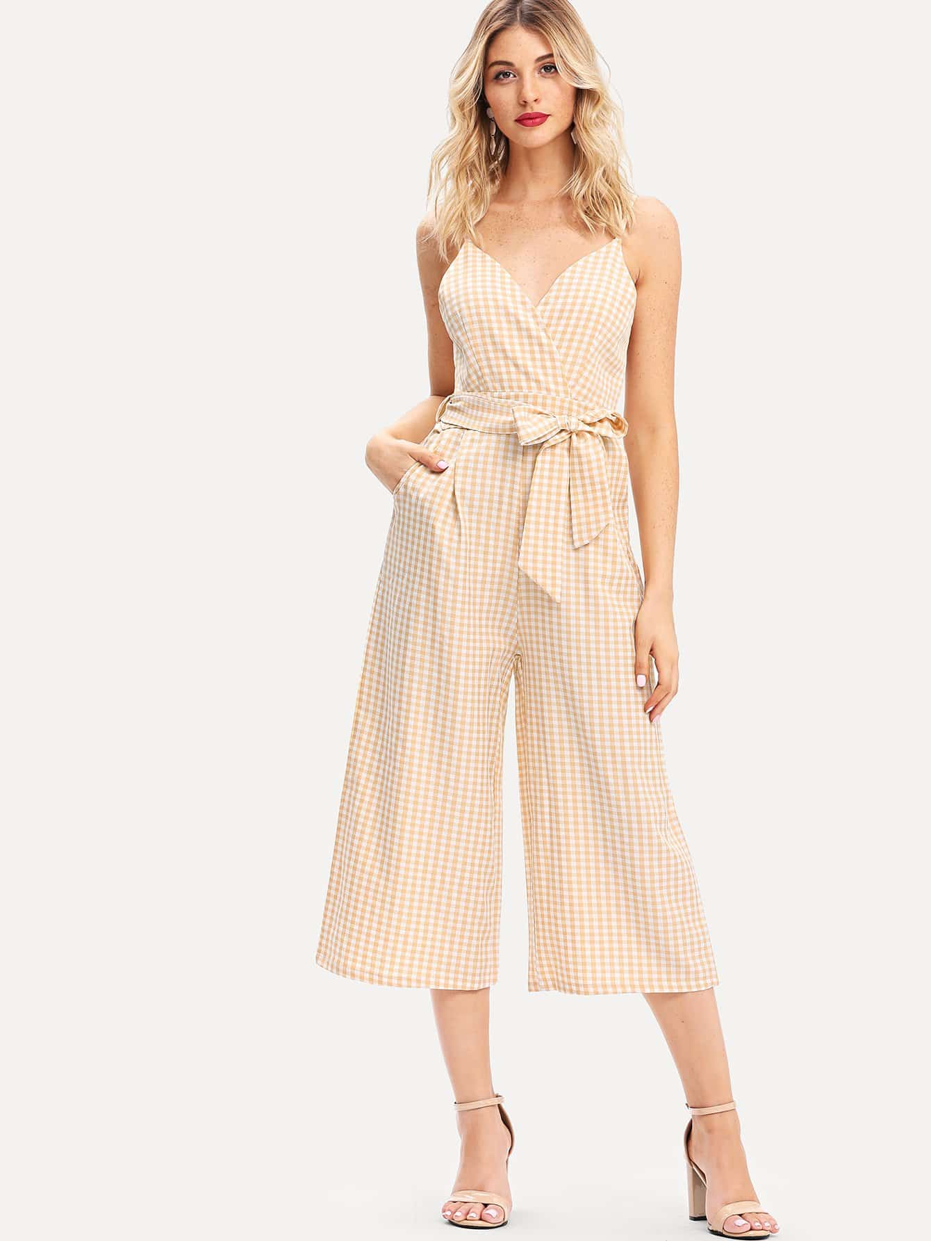 Overlap Front Gingham Cami Jumpsuit with Belt wrap front floral jumpsuit with belt