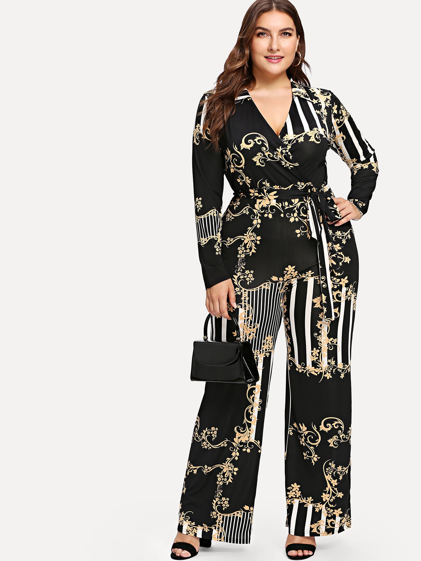 Plus Mixed Print Surplice Wrap Jumpsuit mixed print surplice wrap jumpsuit