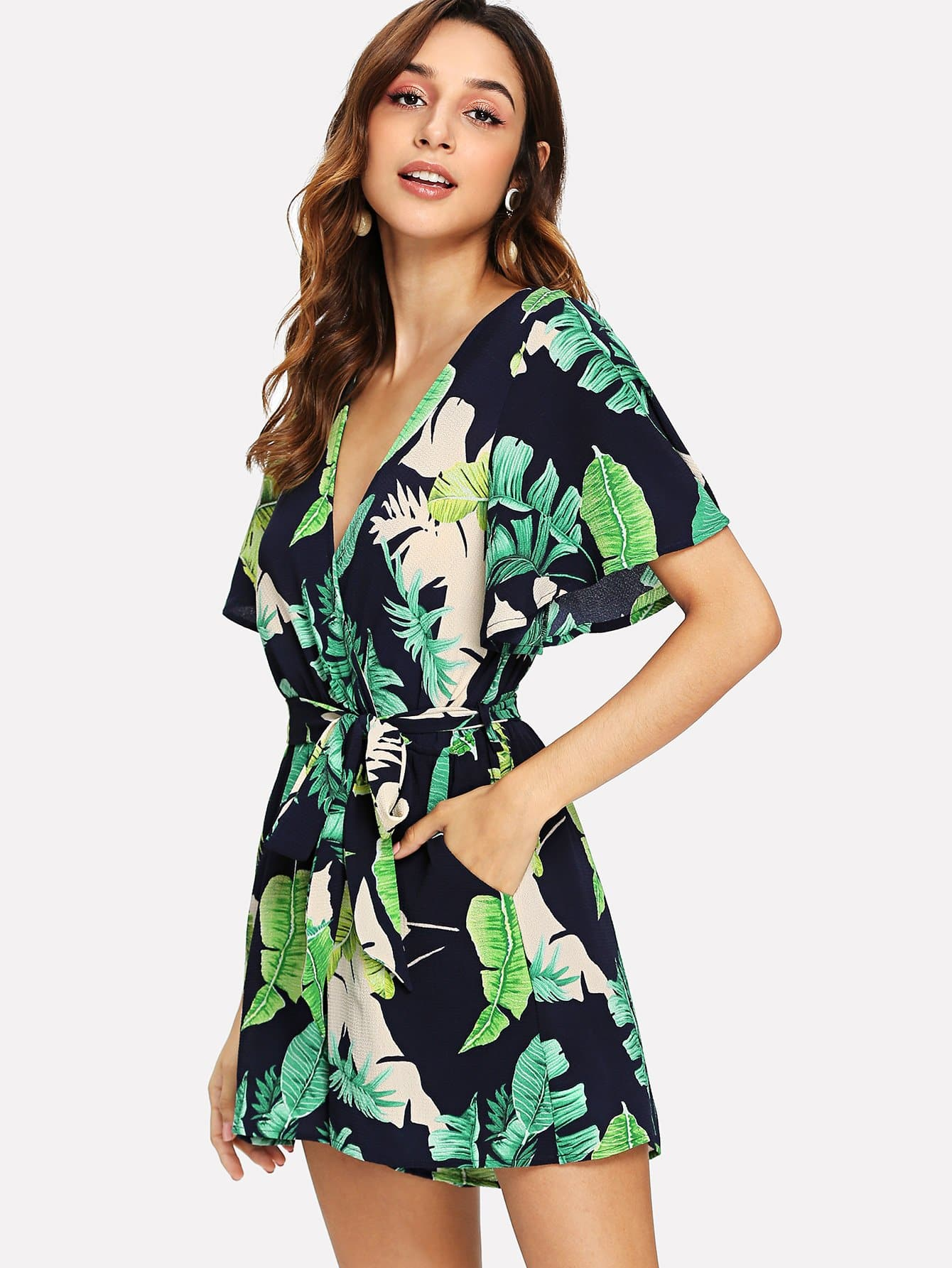 Jungle Leaf Flutter Sleeve Belted Surplice Wrap Jumpsuit