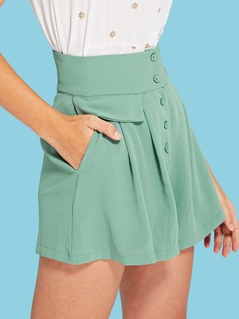 b546e0152 Wide Waistband Button Up Skirt Shorts | MakeMeChic.COM