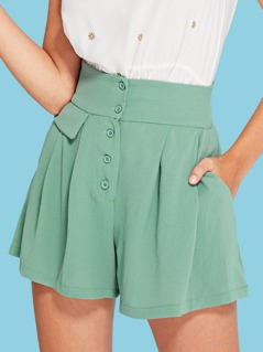 Wide Waistband Button Up Skirt Shorts