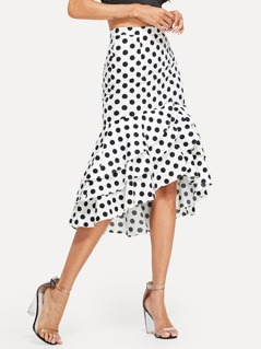 Flounce Trim Polka Dot Skirt