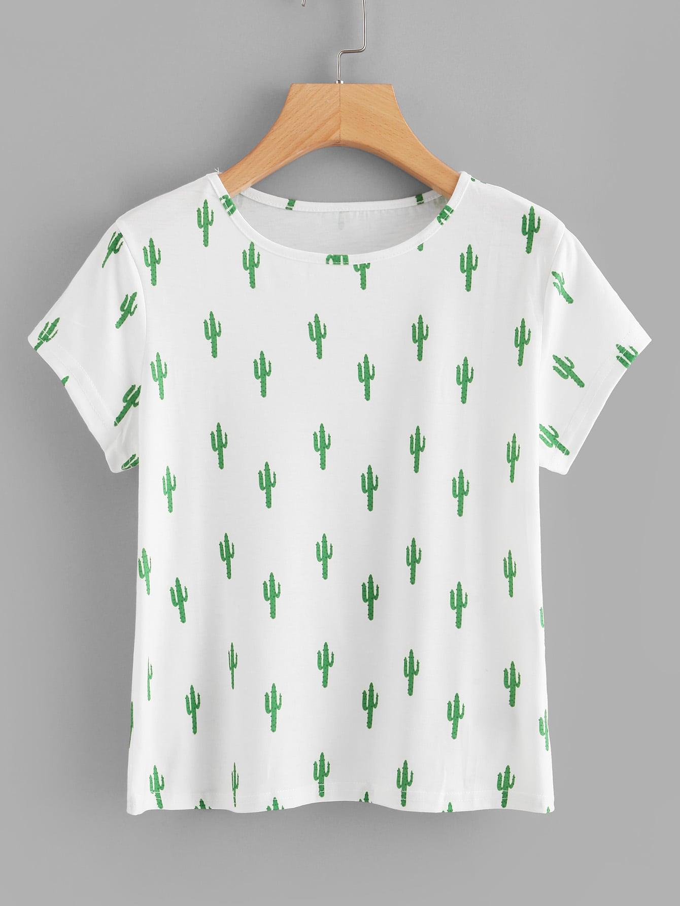 Allover Cactus Print Tee allover fruit print tee