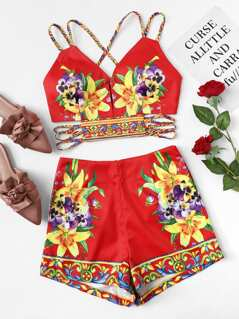 Flower Embroidery Crop Cami Top & Shorts Set