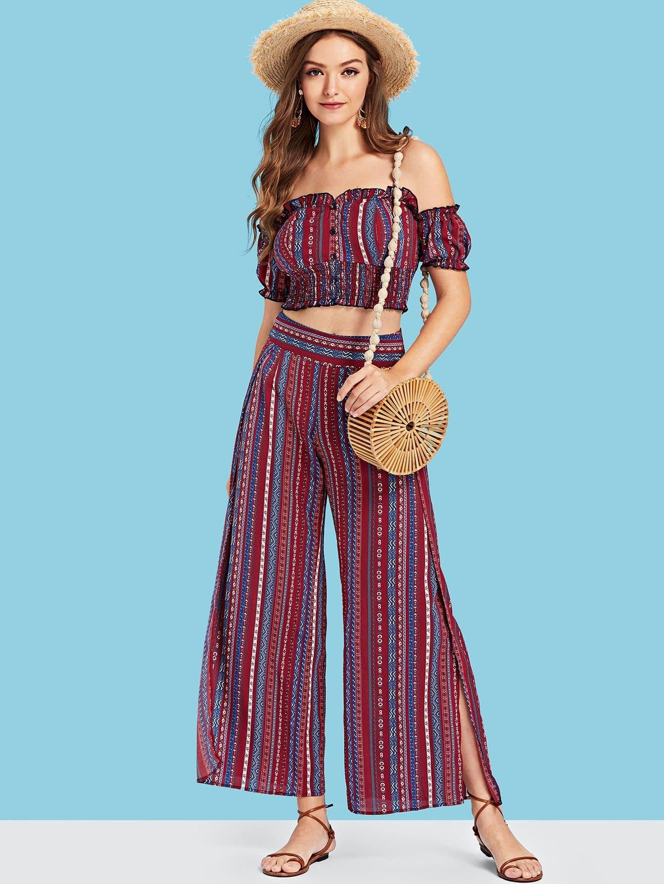 Striped Frill Trim Crop Top & Flare Hem Pants Set frill trim halterneck striped bikini set