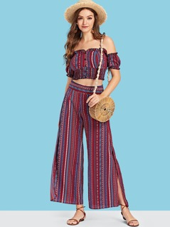 Striped Frill Trim Crop Top & Flare Hem Pants Set