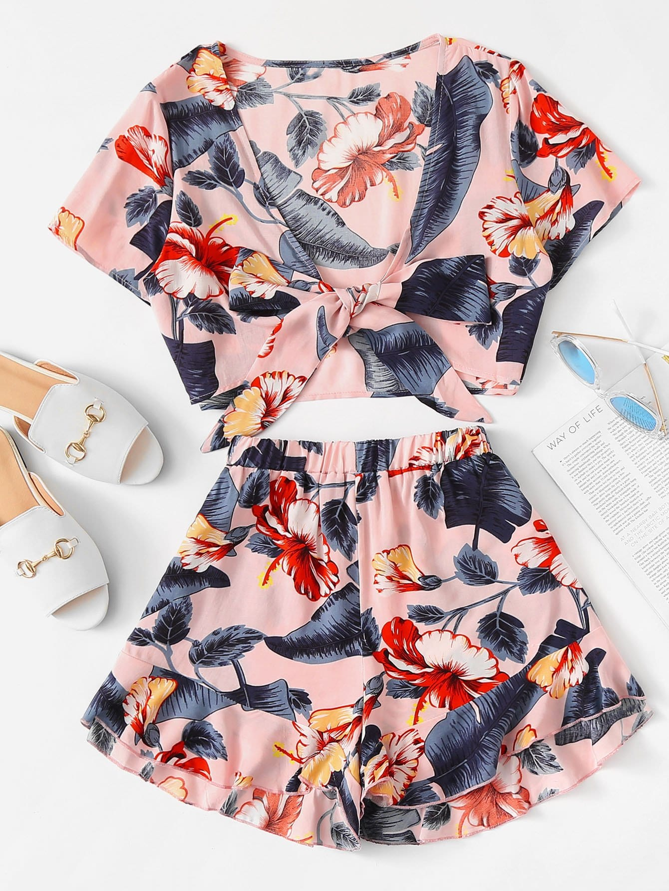 Tropical Print Knot Top & Ruffle Hem Shorts Set geo print knot hem top
