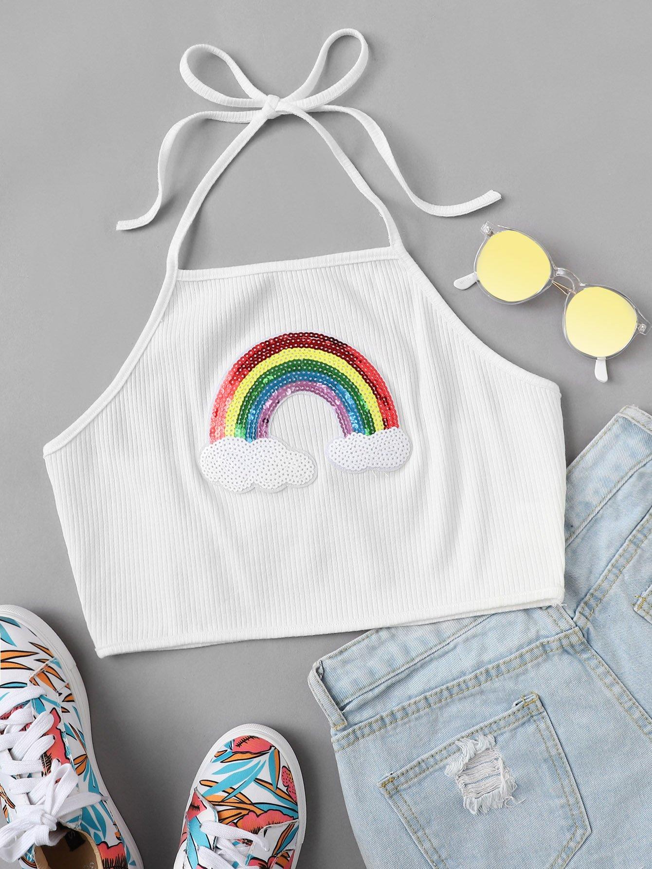 Contrast Rainbow Sequin Rib Knit Halter Top rib knit halter top