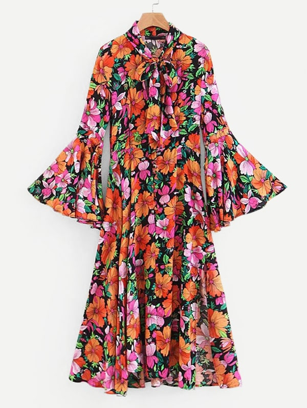 All Over Florals Flounce Sleeve Tie Neck Dress all over florals m slit dress