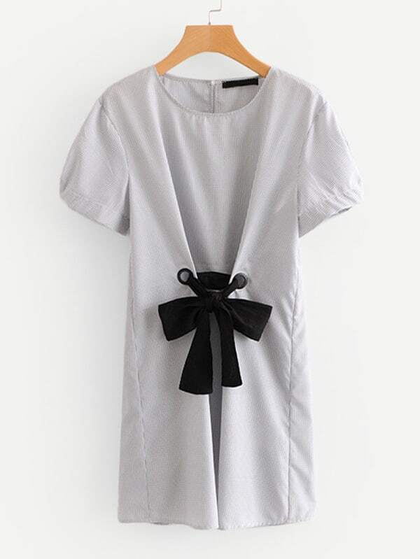 Contrast Bow Tie Detail Dress bow tie cuff contrast patch pocket detail shirt