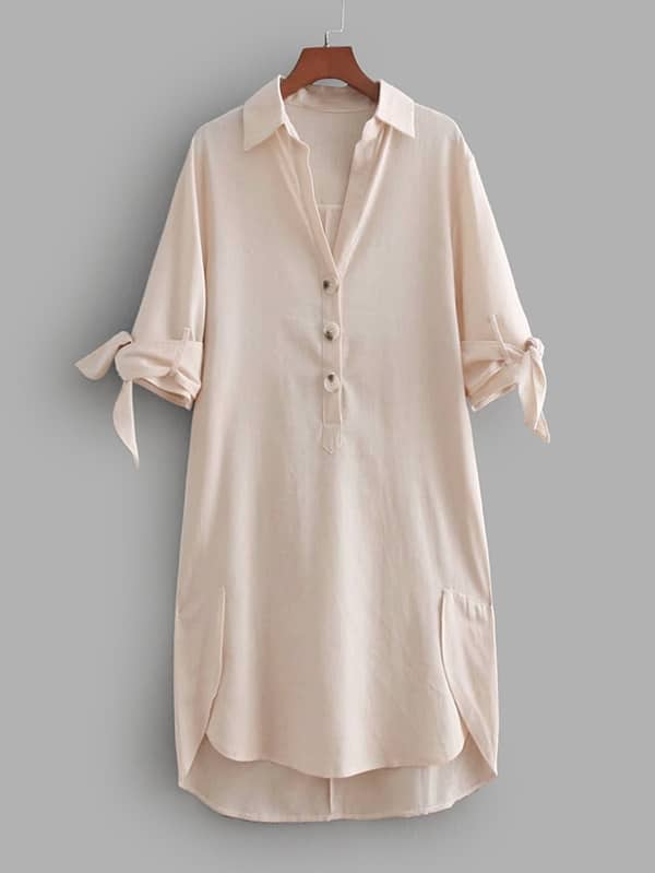 Tie Cuff High Low Shirt Dress tie cuff drop waist dress