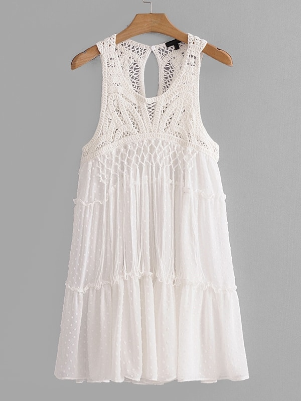 Hollow Out Crochet Panel Fringe Trim Dress hollow out embroidery panel dress